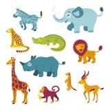 Conjunto de animales africanos ilustración del vector