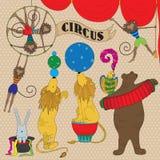 Conjunto de animales de circo Foto de archivo libre de regalías