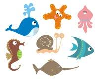 Conjunto de animales de mar Fotografía de archivo