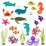 Conjunto de animales de mar Imágenes de archivo libres de regalías