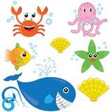 Conjunto de animales de mar lindos Imagenes de archivo