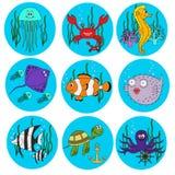 Conjunto de animales de mar lindos Fotos de archivo