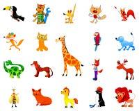 Conjunto de animales divertidos Fotografía de archivo