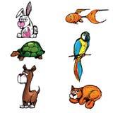 Conjunto de animales domésticos de la historieta Foto de archivo