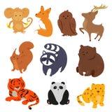 Conjunto de animales lindos de la historieta Fotografía de archivo