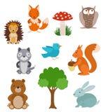 Conjunto de animales lindos de la historieta Colección del bosque con el árbol Imágenes de archivo libres de regalías