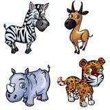 Conjunto de animales salvajes de la historieta Fotografía de archivo