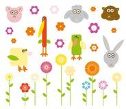 Conjunto de animales y de flores lindos del vector foto de archivo libre de regalías