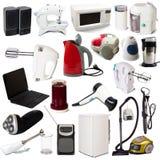 Conjunto de aparatos electrodomésticos. Aislado en blanco fotos de archivo