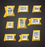 Conjunto de banderas amarillas Imagenes de archivo