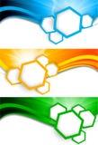 Conjunto de banderas con hexágonos Imagen de archivo