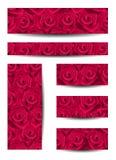 Conjunto de banderas con las rosas rojas. Imágenes de archivo libres de regalías