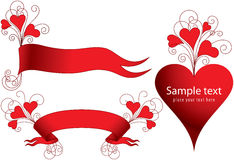Conjunto de banderas con los corazones Imágenes de archivo libres de regalías