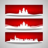 Conjunto de banderas de la Navidad Imagenes de archivo
