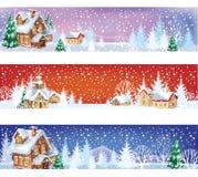 Conjunto de banderas de la Navidad Fotos de archivo