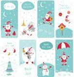 Conjunto de banderas de la Navidad stock de ilustración