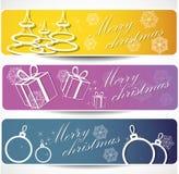 Conjunto de banderas de la Navidad del invierno Fotografía de archivo libre de regalías