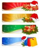 Conjunto de banderas de la Navidad del invierno. Vector Fotografía de archivo libre de regalías