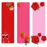 Conjunto de banderas de la tarjeta del día de San Valentín Fotos de archivo
