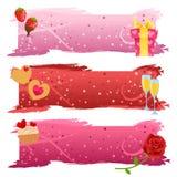 Conjunto de banderas de la tarjeta del día de San Valentín Foto de archivo libre de regalías