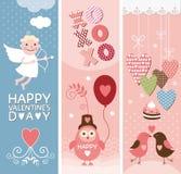 Conjunto de banderas del día de tarjetas del día de San Valentín Foto de archivo libre de regalías