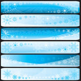 Conjunto de banderas horisontal del invierno stock de ilustración