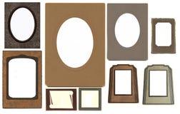 Conjunto de bastidores de la vendimia aislados en blanco Imagen de archivo libre de regalías