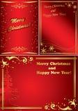 Conjunto de bastidores de oro y rojos de la Navidad Fotos de archivo libres de regalías