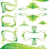 Conjunto de bastidores y de elementos verdes del diseño. Fotos de archivo