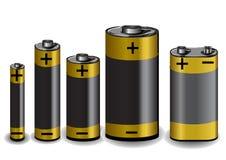 Conjunto de baterías Imagen de archivo libre de regalías