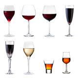 Conjunto de bebidas aisladas en blanco Foto de archivo libre de regalías