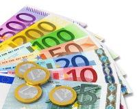 Conjunto de billetes de banco y de monedas euro Fotos de archivo