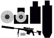 Conjunto de blancos y del rifle Imagen de archivo