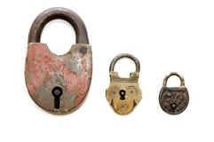 Conjunto de bloqueos viejos aislados imágenes de archivo libres de regalías