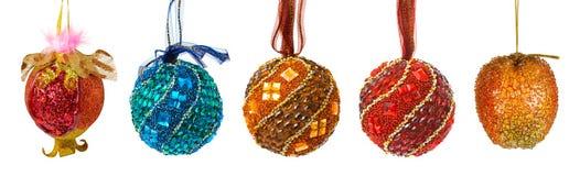 Conjunto de bolas coloridas de la Navidad Fotografía de archivo libre de regalías