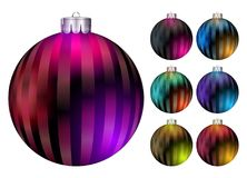 Conjunto de bolas de la Navidad del vector Bola colorida realista de Navidad stock de ilustración