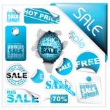 Conjunto de boletos, de escrituras de la etiqueta y de etiquetas engomadas azules de la venta ilustración del vector