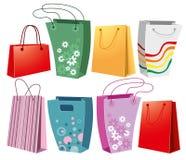 Conjunto de bolsos de compras Imagenes de archivo