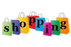 Conjunto de bolsos de compras con las compras de la palabra Foto de archivo