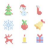 Conjunto de bordado de la Navidad Foto de archivo