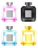 Conjunto de botellas de perfume coloreadas Imágenes de archivo libres de regalías
