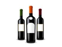 Conjunto de botellas de vino Fotos de archivo libres de regalías