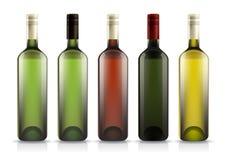 Conjunto de botellas de vino Imágenes de archivo libres de regalías