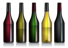 Conjunto de botellas de vino Imagen de archivo libre de regalías