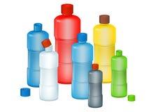 Conjunto de botellas del plástico del color Fotos de archivo