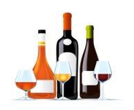 Conjunto de botellas del vino y del coñac Imagen de archivo