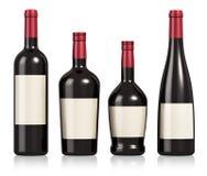Conjunto de botellas del vino y del coñac Fotos de archivo libres de regalías