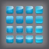 Conjunto de botones azules en blanco stock de ilustración