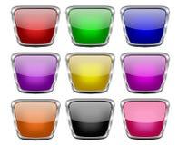 Conjunto de botones brillantes cuadrados del Web Fotos de archivo libres de regalías