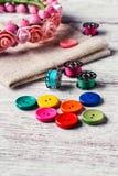 Conjunto de botones coloreados Foto de archivo libre de regalías